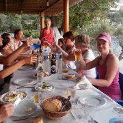 Lefkada tavern with students