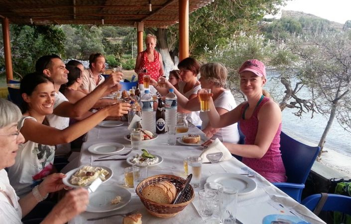 Lefkada tavern with students