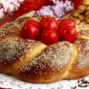 Greek Easter eggs and bread