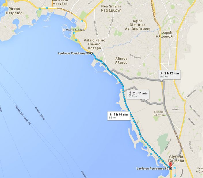 Route Faliro to Glyfada