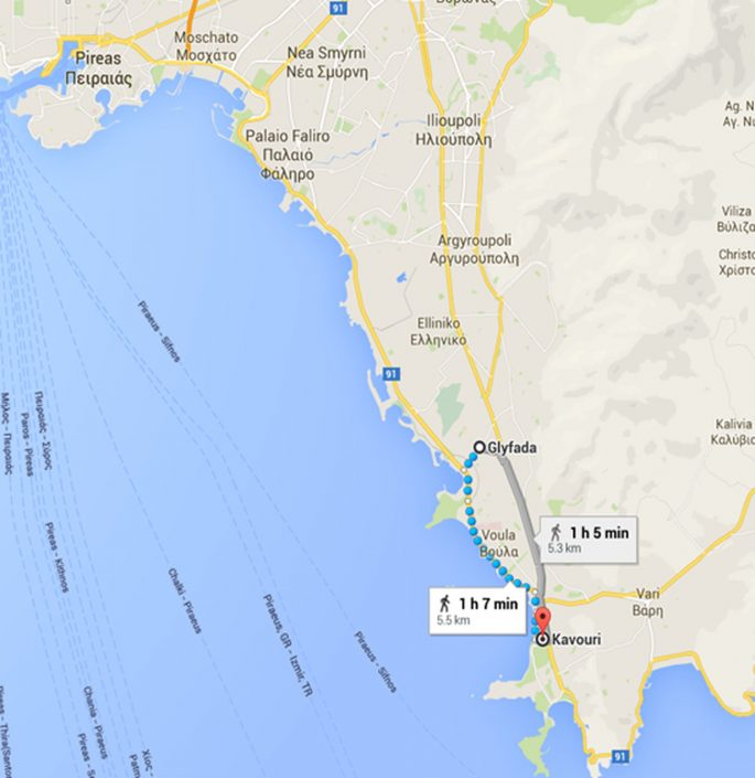 Route Glyfada to Kavouri