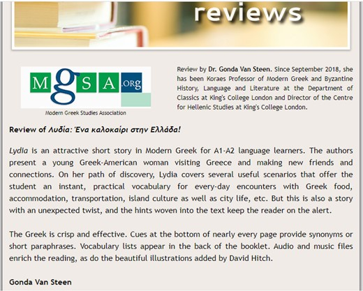 testimonial Lydia Greek Easy Reader